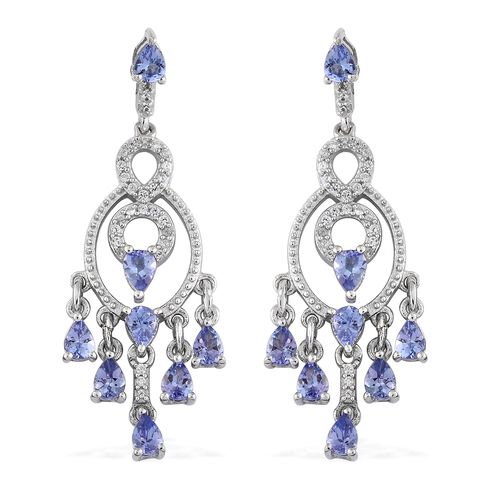 Tanzanite (Pear), Natural Cambodian Zircon Earrings in Platinum Overlay Sterling Silver 2.750 Ct. Si