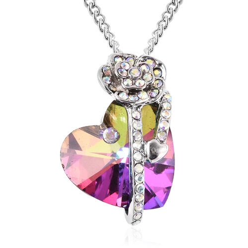 Simulated Mystic Topaz and White AB Austrian Crystal Heart and Rose Necklace (Size 20 with 2 inch Ex