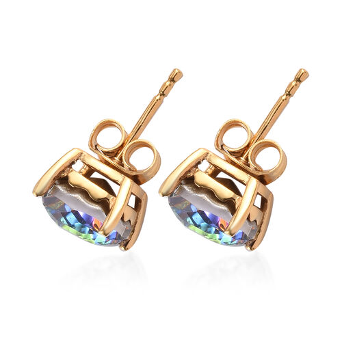 J Franis Crystal from Swarovski Vitrail Medium Crystal Stud Earrings (with Push Back) in 14K Gold Overlay Sterling Silver