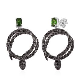 Designer Inspired- Russian Diopside (Cush), Boi Ploi Black Spinel Snake Earrings (with Push Back) in Black and Rhodium Plated Sterling Silver 1.885 Ct. Silver wt 7.00 Gms. Number of Gemstone 122