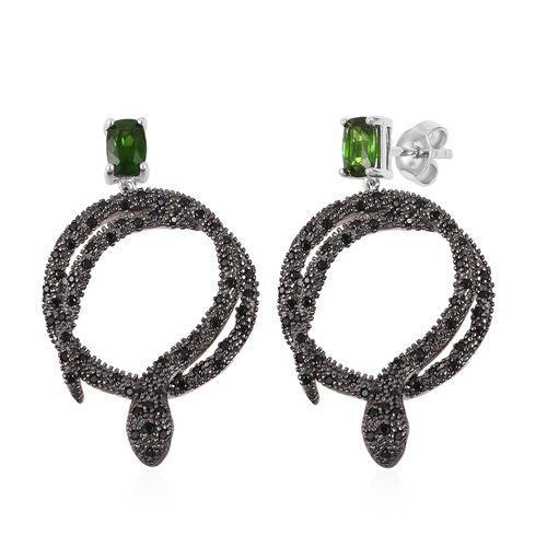 Designer Inspired- Russian Diopside (Cush), Boi Ploi Black Spinel Snake Earrings (with Push Back) in