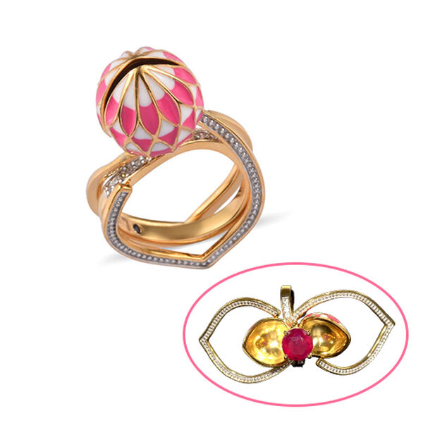 GP 3.14 Ct African Ruby Lotus Reveal Ring in Gold Plated Sterling Silver