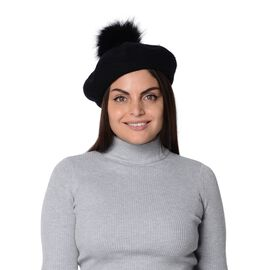 Solid Colour Winter Faux Fur Pompom Hat (Size 60 Cm) - Black