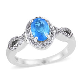 1.25 Carat Neon Apatite and Cambodian Zircon Halo Ring in Platinum Plated Sterling Silver