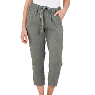 NOVA of London Linen Trousers in Khaki (Size 10-14)