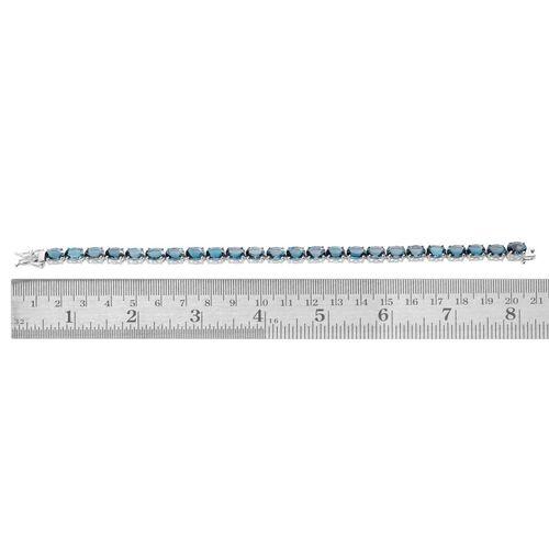 London Blue Topaz (31.50 Ct) Platinum Overlay Sterling Silver Bracelet (Size 8)  31.500  Ct.