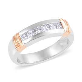 Signature Collection 0.49 Ct Diamond Half Eternity Band Ring in 950 Platinum and 18K Gold SGL Certif