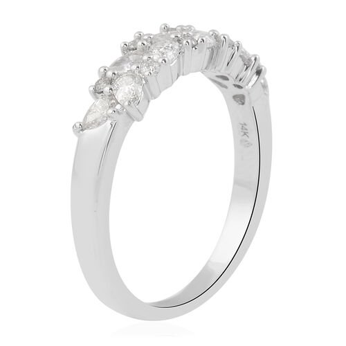 NY Close Out Deal 14K White Gold Diamond (Pear SI-I1/G-H) Ring 0.60 Ct.