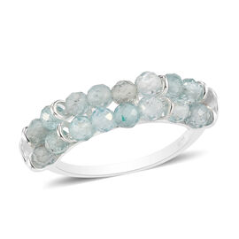 Paraibe Apatite Two-Row Ring in Sterling Silver 3.20 Ct.