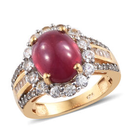 8.25 Ct African Ruby and Zircon Halo Ring in Gold Plated Sterling Silver