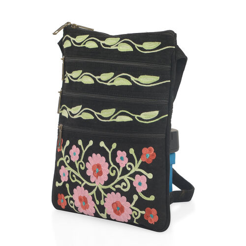 Hand Embroidered Black and Multi Colour Floral and Leaves Pattern Sling Bag