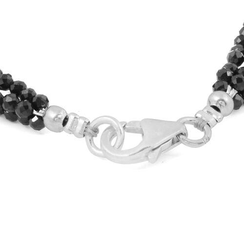 Natural Boi Ploi Black Spinel (Rnd) Bracelet (Size 7.5) in Sterling Silver 20.00 Ct.