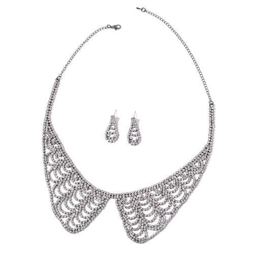 White Austrian Crystal Collar Necklace (Size 17 with 5 inch Extender) and Dangling Earrings (with Push Back) in Black Tone