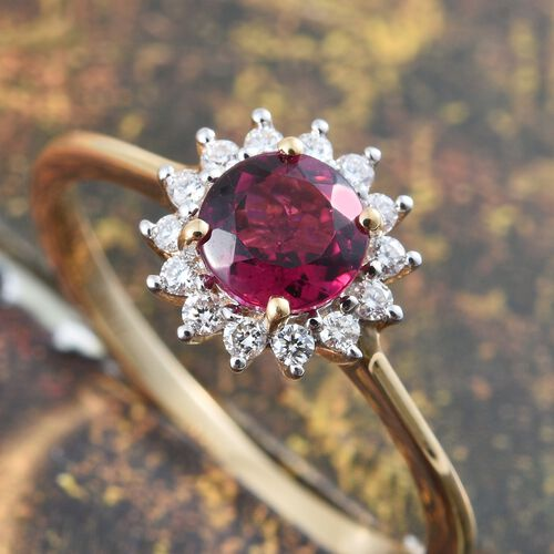 ILIANA 18K Yellow Gold AAA Ouro Fino Rubelite (Rnd), Diamond (SI/G-H) Halo Ring 1.000 Ct.