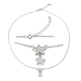 ELANZA Simulated Diamond (Rnd) Adjustable Necklace (Size 18 with 1 inch Extender) in Rhodium Overlay