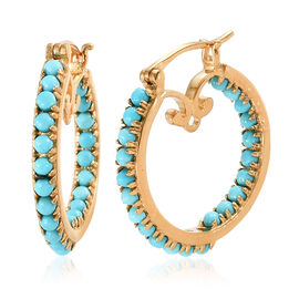 Arizona Sleeping Beauty Turquoise (Rnd) Earrings (with Clasp Lock) in 14K Gold Overlay Sterling Silv