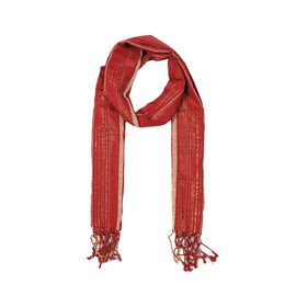 Metallic Stripe Pattern Scarf with Tassels (Size 70x180 Cm) - Red