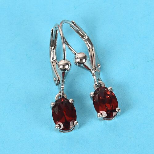 Mozambique Garnet (Ovl) Lever Back Earrings in Platinum Overlay Sterling Silver 1.80 Ct.
