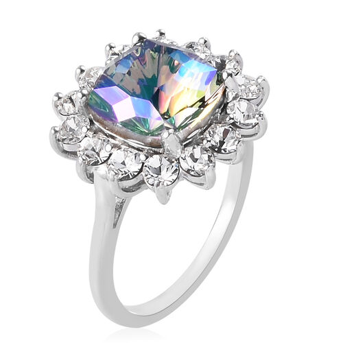 J Francis - Crystal from Swarovski Paradise Shine Crystal and White Crystal Ring in Platinum Overlay Sterling Silver