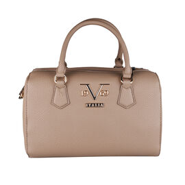 19V69 ITALIA by Alessandro Versace Litchi Pattern Tote Bag with Detachable Shoulder Strap and Zipper Closure (Size 29x15x18 Cm) - Dark Beige