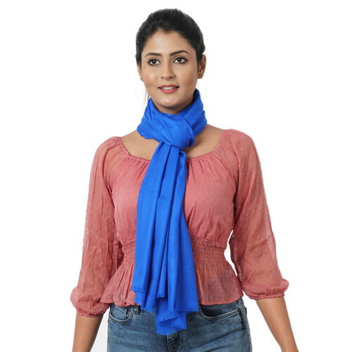 100% Cashmere Wool Royal Blue Colour Scarf with Fringes (Size 190X70 Cm)