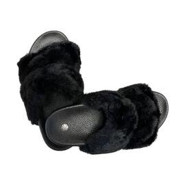 Ladies Summer Faux Fur Slider Slipper - Black