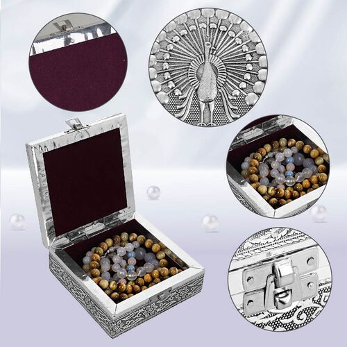 3D Embossed Collection Handcrafted Peacock Oxidised Jewellery Box (Size 12.7x12.7 Cm) with Blue Velvet Interior