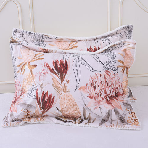 4 Piece Set - Serenity Night Ivory and Multi Colour Floral Print Comforter (220x225cm), Fitted Sheet (140x190+30cm) and Pillow Covers (2 Pcs - 50x70+5cm) - DOUBLE