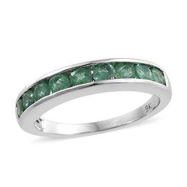 9K White Gold AA Kagem Zambian Emerald (Rnd) Half Band Ring (Size S) 1.000 Ct.