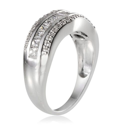 J Francis - Platinum Overlay Sterling Silver (Bgt) Ring Made With SWAROVSKI ZIRCONIA 1.316 Ct.