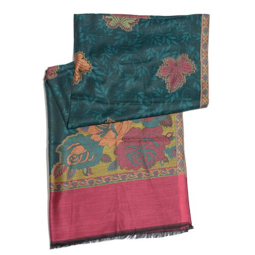 100% Modal Multi Colour Floral and Leaves Pattern Burgundy, Golden and Green Colour Jacquard Scarf (Size 190x70 Cm)