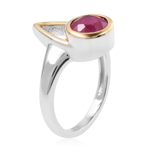 LucyQ - Open Drip Collection - African Ruby (Rnd) Ring in Rhodium and Gold Plated Sterling Silver 1.940 Ct.