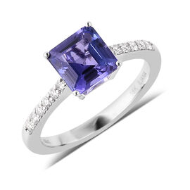 ILIANA 18K White Gold AAA Tanzanite (Asscher Cut 7x7mm), Diamond (SI/G-H) Ring 1.86 Ct.