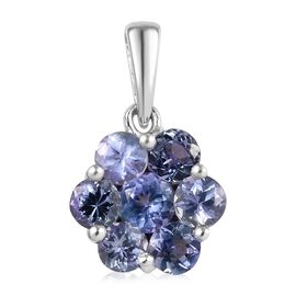1.50 Ct Tanzanite Floral Pendant in Platinum Plated Sterling Silver
