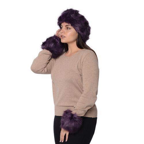 2 Piece Set - Faux Fur Headband (Size 10.2x55.9 Cm) and Wrist Warmer (Size 10.2x20.3 Cm) - Dark Purple