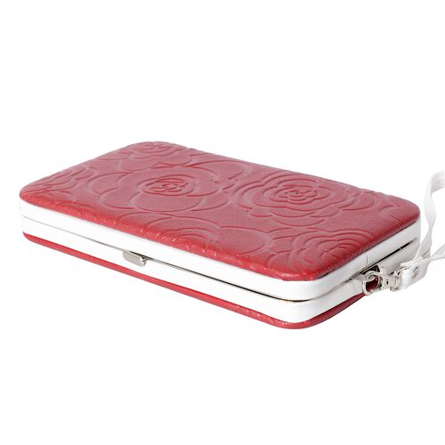 Limited Flower Embossed Pattern Red RFID Clutch Wallet with Slot for Large Phone and Card and Cash (17.5x9.5x2.5cm)