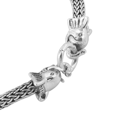 Royal Bali Collection Sterling Silver Elephant Head Tulag Naga Necklace (Size 20), Silver wt 97.00 Gms.