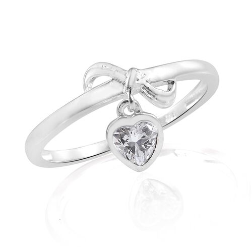 J Francis - Sterling Silver (Hrt) Ring with Charm Made with SWAROVSKI ZIRCONIA