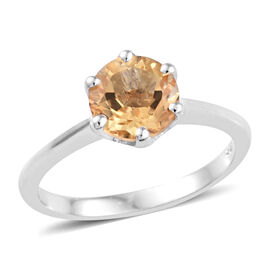 Brazilian Citrine (1.25 Ct) Platinum Overlay Sterling Silver Ring  1.000  Ct.