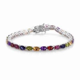13.20 Ct Mozambique Garnet and Multi Gemstone Tennis Bracelet in Platinum Plated Silver 7.5 Inch