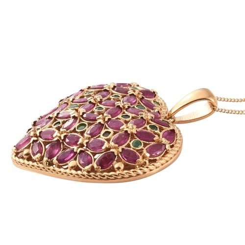 African Ruby (Mrq), Kagem Zambian Emerald Pendant with Chain in 14K Gold Overlay Sterling Silver 10.000 Ct. Silver wt 10.87 Gms.