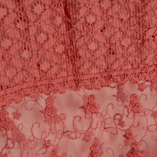 New For Season - 100% Micro - Cotton Slub Lace Trim Hot Pink Colour Scarf (Size 200x40 Cm)
