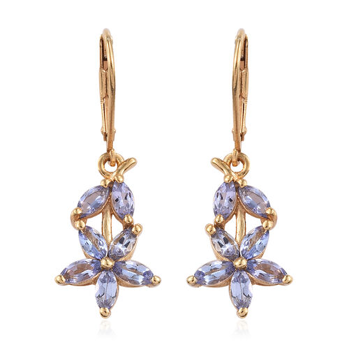 Tanzanite (Mrq) Floral Lever Back Earrings in 14K Gold Overlay Sterling Silver 2.00 Ct.