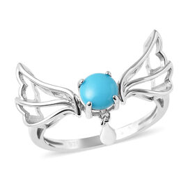 LucyQ Art Nouveau Collection Arizona Sleeping Beauty Turquoise Ring in Rhodium Overlay Sterling Silv