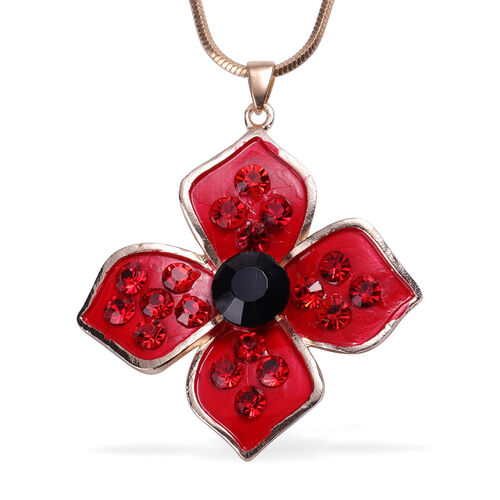 TJC Poppy Design - Simulated Black Spinel, Red Austrian Crystal Pendant With Chain (Size 30 with Extender) in Yellow Gold Tone