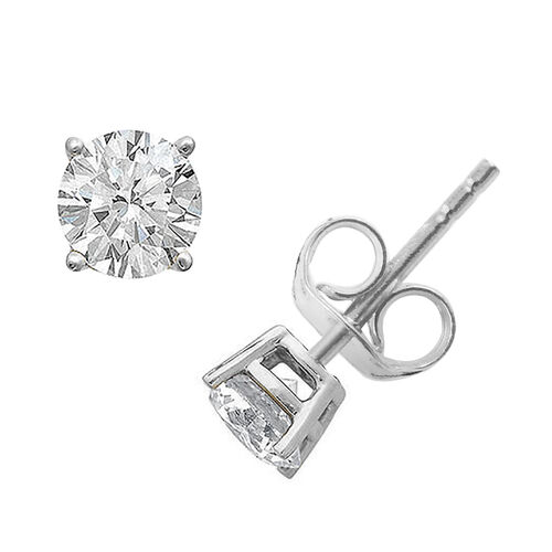 Signature Collection-18K White Gold IGI Certified (SI/H) Diamond (Rnd) Stud Earrings (with Push Back) 1.000 Ct.