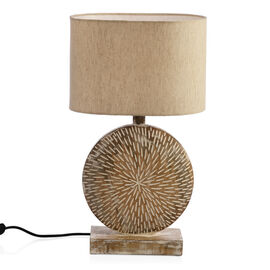 NAKKASHI - Solid Wood Hand Carved Table Lamp in Antique White Finish (Lamp Shade Included)