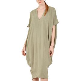 Nova of London Oversized V-Neck Back Slit Detail Midi Dress in Sage