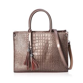 100% Genuine Leather Croc Embossed Tote Bag with Detachable Shoulder Strap (Size 34x14x25 Cm) - Coff