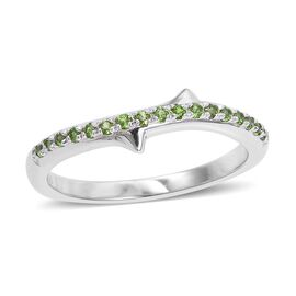 LucyQ Rose Thorn Collection-  Russian Diopside (Rnd) Ring in Rhodium Overlay Sterling Silver